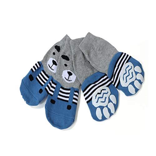 Meioro Anti-Rutsch Hundesocken Traktionskontrolle Cotton Breathable Paw Protectors für Indoor Wear Set von 4 Großen und Mittelgroßen Hunden (4XL, Blau)