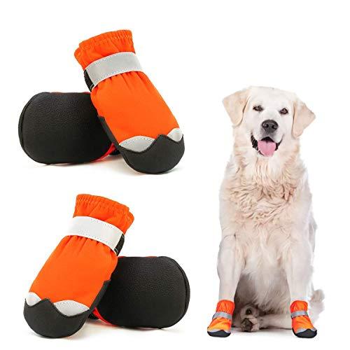 Dociote wasserdichte Hundeschuhe pfotenschutz mit Anti-Rutsch Sohle, reflektierendem Riemen, Klettverschluss Schneeschuhe für mittelgroße große Hunde 4 Stück Orange 5#