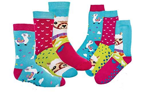 TippTexx 24 6 Paar Kinder Thermo Stoppersocken, ABS Socken für Mädchen und Jungen, Ökotex Standard, Strümpfe mit Noppensohle, viele Muster (Lama, 31-34)