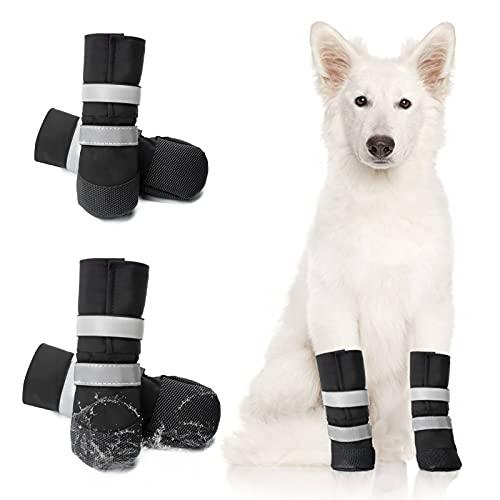 OHCOZZY wasserdichte Hundeschuhe, Pfotenschutz, Anti-Rutsch-Hundeschuhe mit Verstellbarem, Reflektierendem Riemen für Kleine, Mittlere und Große Hunde 4 Stück (L, Schwarz)