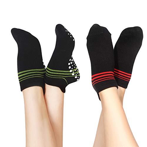 Qishare 2 Pairs Anti-Rutsch-Socken für Männer und Frauen,ideal für Yoga,Seniorenklinik,Pilates,Mutterschaftsschwangerschaft,Barre,Trampolin,Zumba,Tai Chi und zu Hause(Rot + Grün,S)