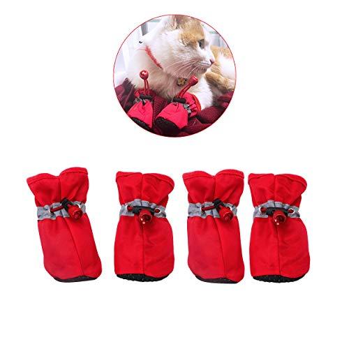 YAODHAOD Hundestiefel Paw Protector, rutschfeste Hundeschuhe , Diese bequemen Hundeschuhe mit weichen Sohlen sind mit reflektierenden Trägern für kleine Hunde ausgestattet (4, Rot)