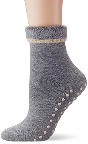 ESPRIT Damen Stoppersocken Cosy - Schurwoll-/Baumwollmischung, 1 Paar, Grau (Mid Grey Melange 3530), Größe: 35-38