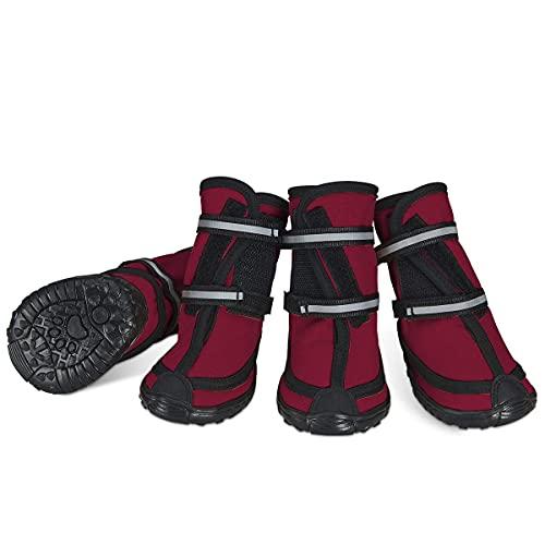 Dociote Hundeschuhe pfotenschutz mit Anti-Rutsch Sohle, reflektierendem Riemen, Klettverschluss wasserdicht Schneeschuhe für mittelgroße große Hunde 4 Stück Rot M