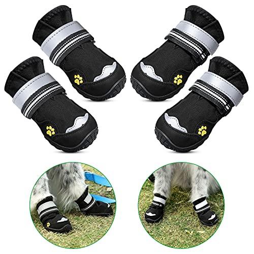 Petbank Hundeschuhe, Hundeschuhe Pfotenschutz Robuste Anti-Rutsch-Sohle, für Kleine Mittlere Große Hund mit Reflektierenden Streifen, Pfotenschutz Hund Schwarz 4PCS(5#:2.87' x2.36(L*W)