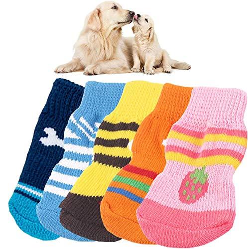 MICHETT Hundesocken rutschfeste Innensocken für Hunde und Katzen Silikon Schützt die Füße und Sorgt für Traktion (Zufällige Farbe) 4Paar