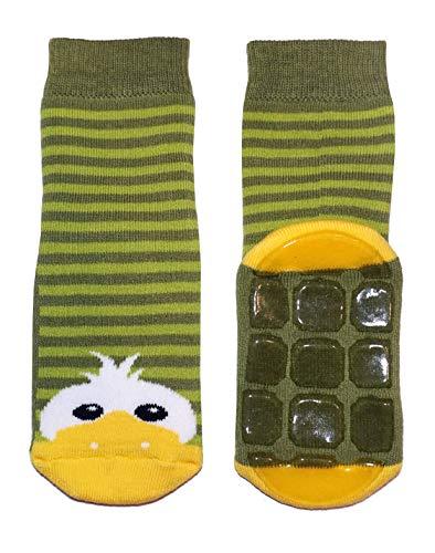 Weri Spezials Baby und Kinder Stoppersocken Enten Motiv für Mädchen und Jungen voll-ABS Antirutschsohle (23-26, Grün)