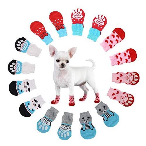 N\O Heiqlay Hundesocken Anti Rutsch Socken für Katzen Pfotenschutz Hund Katze Pet Indoor Anti-Rutsch Socken Pfotenschutz und Traktion Dank Silikon-Gel für Hunde und Katzen, 4 Sätze, L