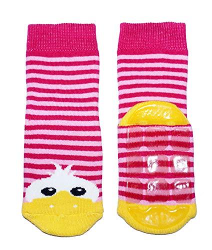 Weri Spezials Baby und Kinder Stoppersocken Enten Motiv für Mädchen und Jungen in 8 tollen Farben, Voll-ABS Antirutschsohle Anti-Rutsch (35-38, Rosa)
