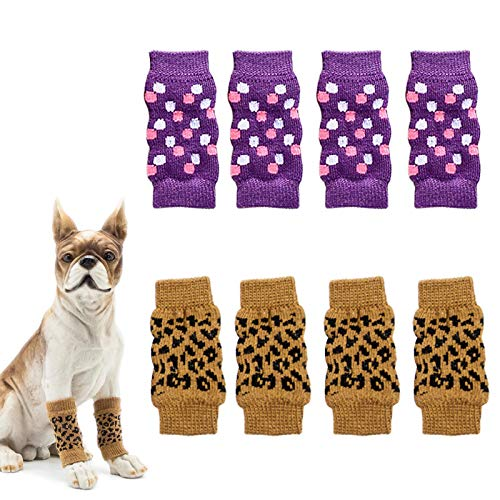 N\O Heiqlay Hundebeinlinge Hundesocken Anti Rutsch Socken für Katzen Hund Katze Pet Indoor Anti-Rutsch Socken und Traktion Dank Silikon-Gel für Hunde und Katzen, Grau, Lila, 2 Sätze, L