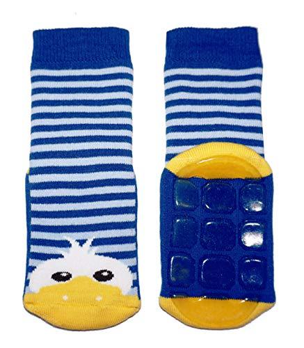 Weri Spezials Baby und Kinder Stoppersocken Enten Motiv für Mädchen und Jungen in 8 tollen Farben, Voll-ABS Antirutschsohle Anti-Rutsch (31-34, Mittelblau)
