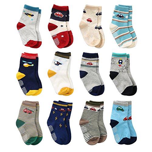 Cottock 12 Paar Kleinkind Jungen Rutschfeste Socken Nette Baumwolle mit Griffen, Baby Jungen Anti-Rutsch-Socken, 3-5 Jahre, 12 Paar