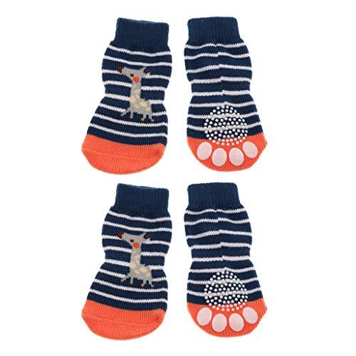 FLAMEER 2 Paare Süße Haustier Socken Pfotenschutz Anti-Rutsch Hundesocken für Indoor - Pferd, M