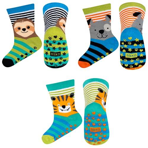soxo bunte Baby Anti-rutsch Socken | lustige Babysocken aus Baumwolle mit witzigen Motiven | rutschfeste, mehrfarbig gemusterte Socken für Jungen und Mädchen | Größe 22-24