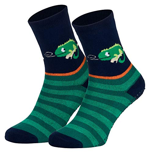 Piarini 2 Paar Kinder Stoppersocken ABS Socken Anti Rutschsocken Noppen Baumwolle Jungen Mädchen Blau Gecko Gr. 35 36 37 38